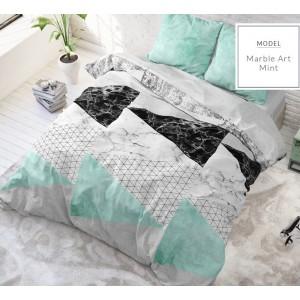 Mentolové posteľné obliečky s mramorovým vzorom