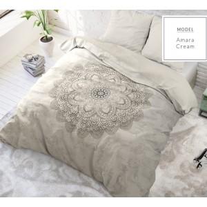 Bežové bavlnené posteľné obliečky so vzorom