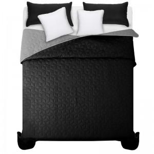 Čierno sivý prehoz na manželskú posteľ s elegantným prešívaním