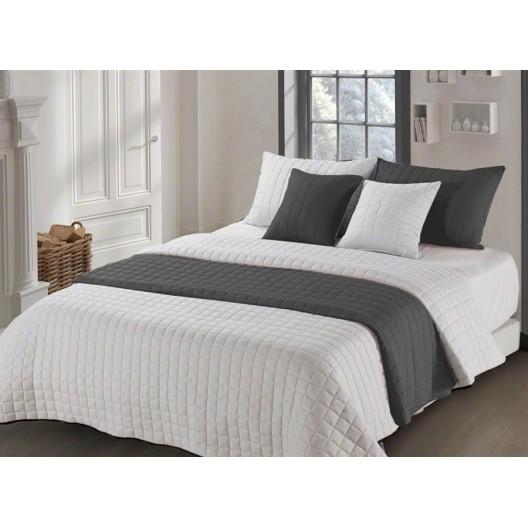 Obojstranný béžovo sivý prehoz na manželskú posteľ