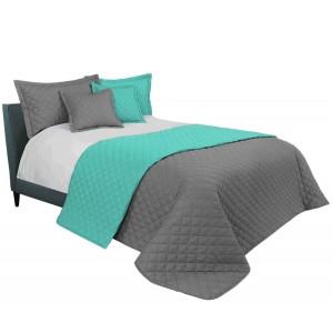 Sivo mentolový prehoz na manželskú posteľ
