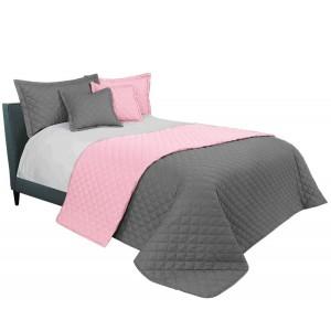 Ružovo sivý prehoz na posteľ s prešívaním