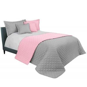 Kvalitný prehoz na manželskú posteľ v sivo ružovej farbe