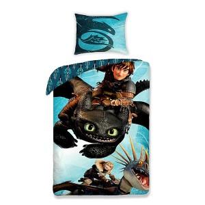 Modré detské posteľné obliečky s drakom