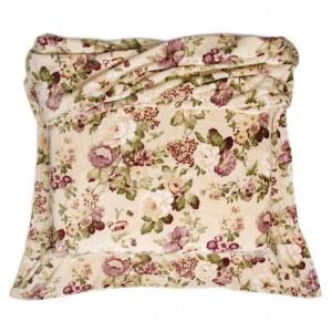 Kvalitná krémová deka so vzorom kvetín