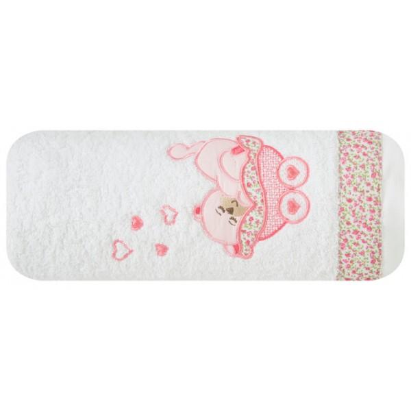 DomTextilu Biela detská osuška s ružovým medvedíkom Šírka: 50 cm   Dĺžka: 90 cm 10190-28164
