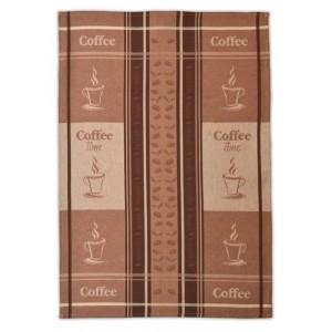Hnedá bavlnená utierka na riad s kávovým vzorom