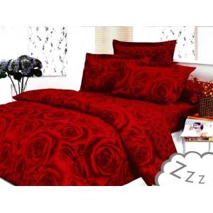 Červené bavlnené posteľné obliečky s motívom ruží