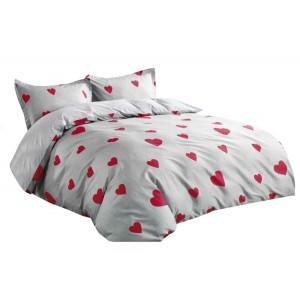 Sivé romatické posteľné obliečky z bavlny s motívom sŕdc