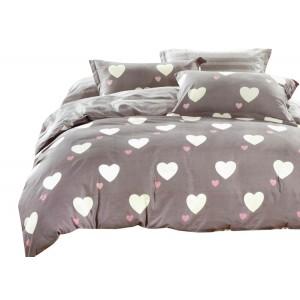 Béžové posteľné obliečky 160x200 s valentínským motívom sŕdc