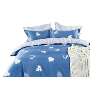 Modré romantické posteľné obliečky z bavlny