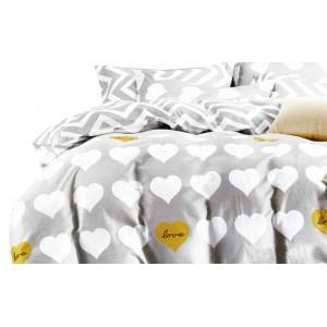 Sivé valentínske posteľné obliečky s bielymi srdiečkami