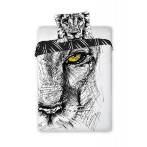 Černo biele detské posteľné obliečky z bavlny s motívom leva