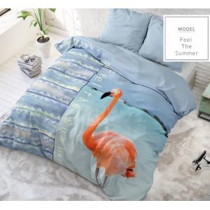 Moderné posteľné obliečky modrej farby s plameniakom