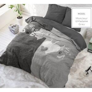 Sivé bavlnené posteľné návliečky pre páry
