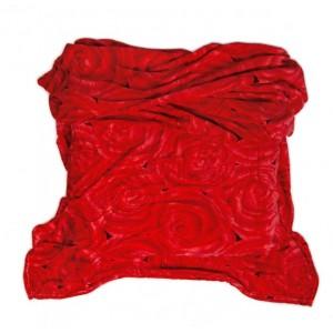 Červená deka z mikrovlákna s motívom ruží