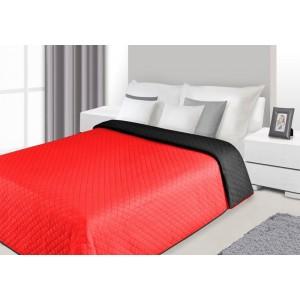 Červeno čierne obojstranné prehozy na posteľ s prešívaným vzorom