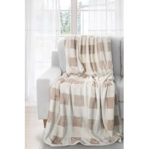 Krémová deka so vzorom štvorcov