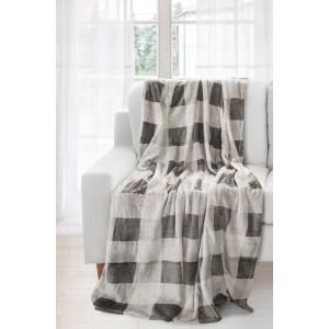 Sivo krémová kvalitná deka so štvorcami
