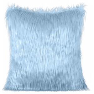 Svetlo modrá ozdobná chlpatá obliečka na vankúš