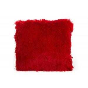 Ozdobná chlpatá obliečka na vankúš červenej farby