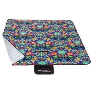Piknikové deky modrej farby s farebnými kvetmi 130x150