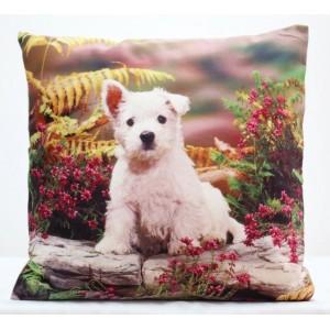 Farebná obliečka na vankúš so psom a kvetmi