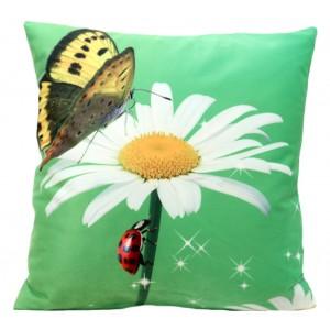 Zelená dekoračná obliečka na vankúše s kvetom