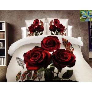 Šedé posteľné obliečky s motívom ruží