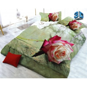 Zelené posteľné obliečky s 3D vzorom ruže