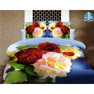 Modré posteľné obliečky s 3D kvetmi