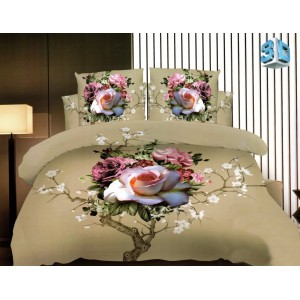 3D posteľné obliečky béžovej farby s kvetmi