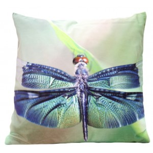 Dekoračná zelená obliečka na vankúš s motívom vážky
