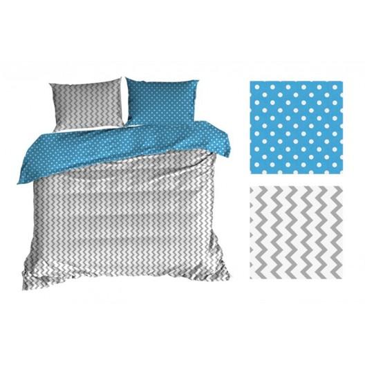 Modro biele posteľné obliečky s cik cak vzorom obojstranné