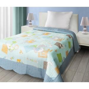 Modrý prehoz na posteľ s detským motívom