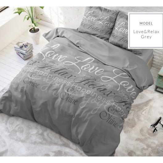 Štýlové posteľné obliečky sivej farby s potlačou