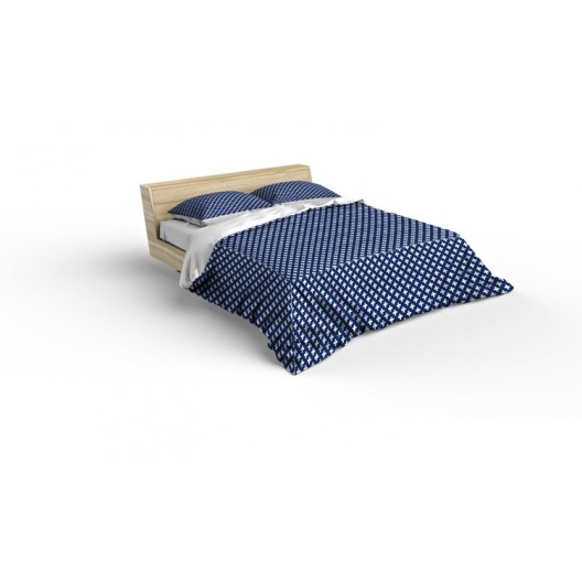 Lacné posteľné obliečky modrej farby so vzorom krížikov