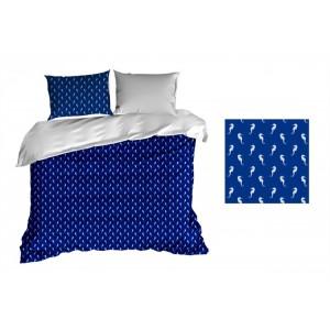 Obliečky na periny tmavo modrej farby s morskými koníkmi