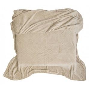 Teplá deka béžová so štvorcami