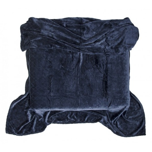 Moderné deky tmavo modrej farby s potlačou