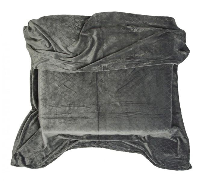 DomTextilu Deky do obývačky tmavo sivej farby 10472-28790 160 x 200 cm Geometrické útvary Sivá