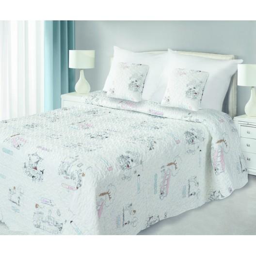 Prehozy na postel krémovej farby s obrázkami