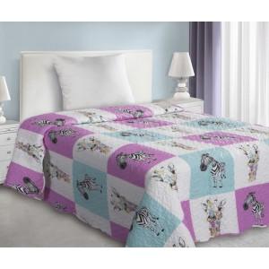 Detské prehozy patchwork so zebrou vo fialovej farbe