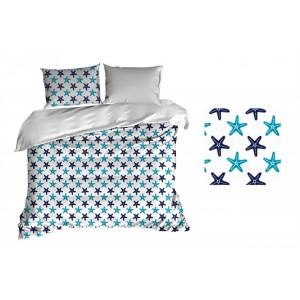 Biele obliečky bavlnené s modrými hviezdicami