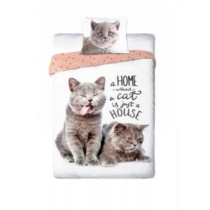 Bavlnené posteľné obliečky mačky