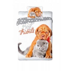 Posteľné obliečky pes a mačka obojstranné