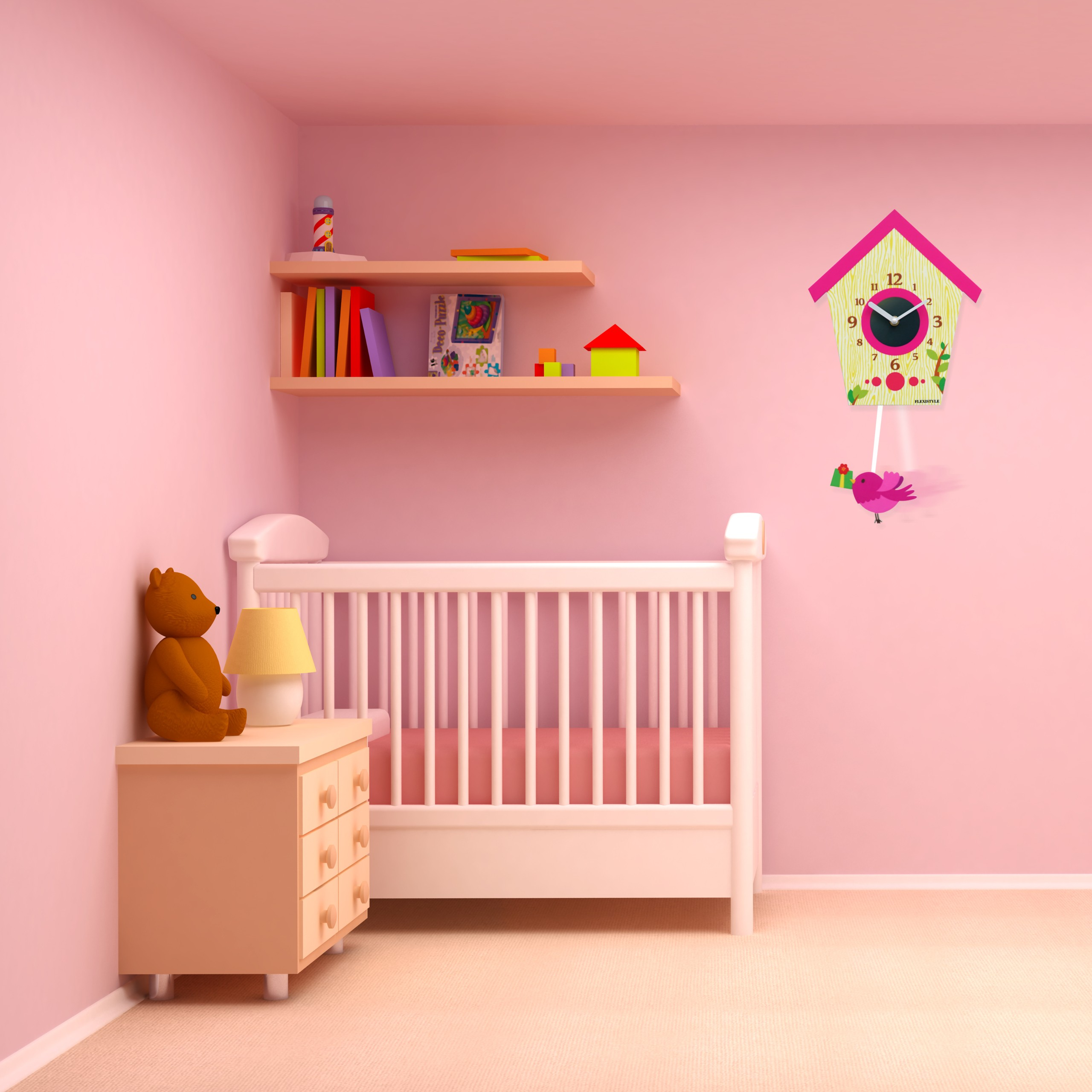 DomTextilu Ozdobné hodiny na stenu ružovej farby 10587