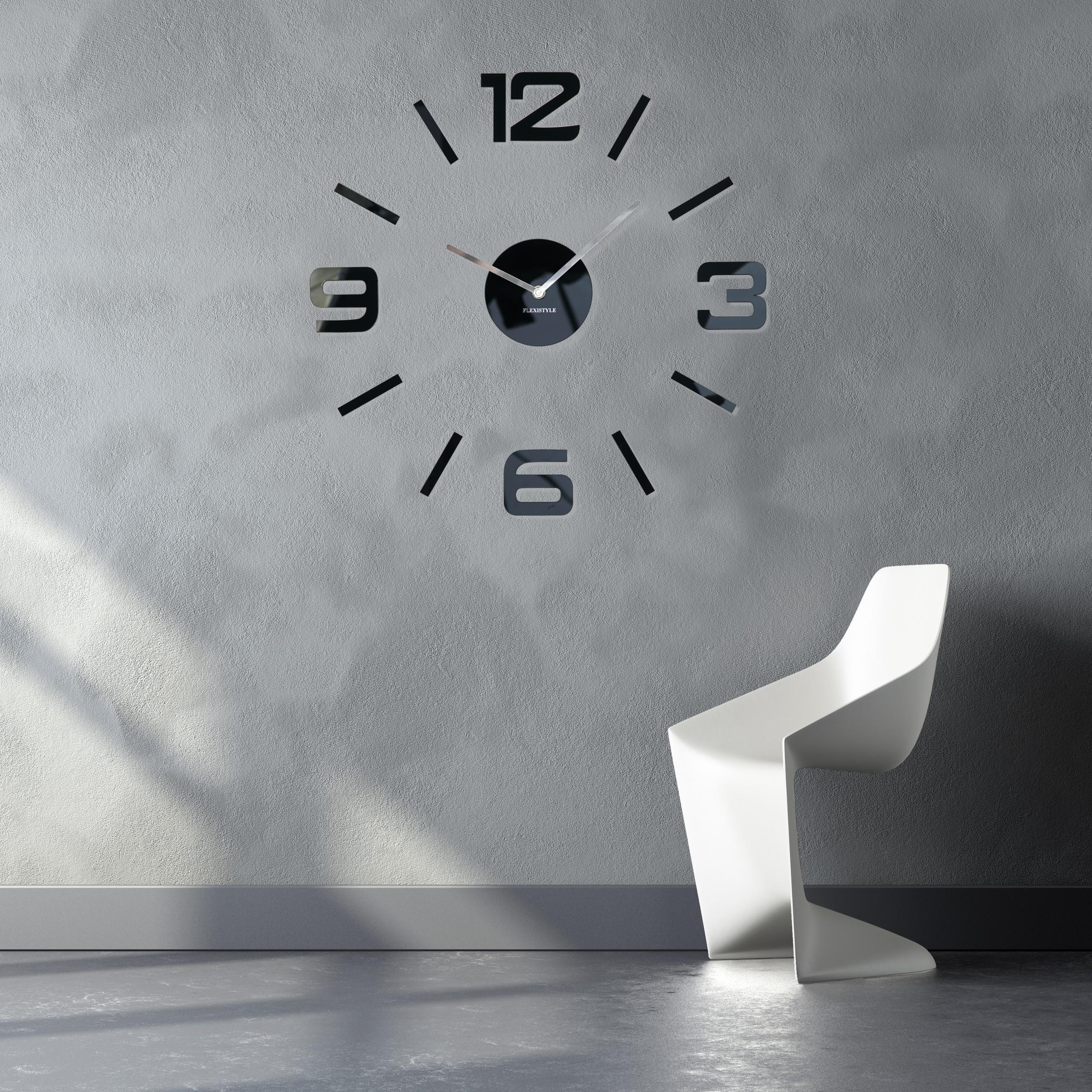 DomTextilu Čierne nástenné hodiny veľké 10596