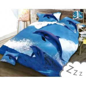 Posteľné obliečky z mikrovlákna s delfínom