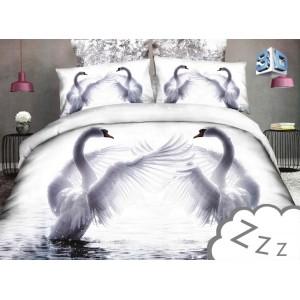 Biele obliečky na posteľ s motívom labutí